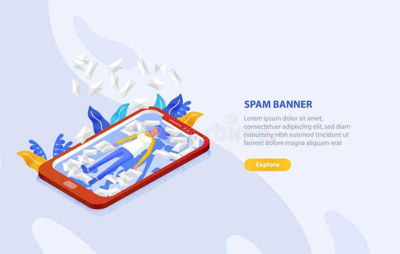 Творческий шаблон знамени сети с женщиной лежа на экране гигантского смартфона среди много писем в конвертах Спам и иллюстрация вектора