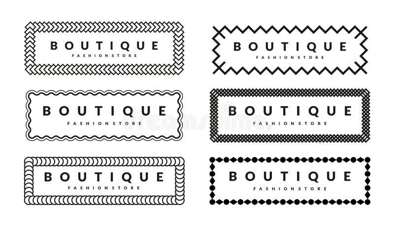 Творческий шаблон дизайна границ установленный для магазина модной одежды битников стоковое изображение rf