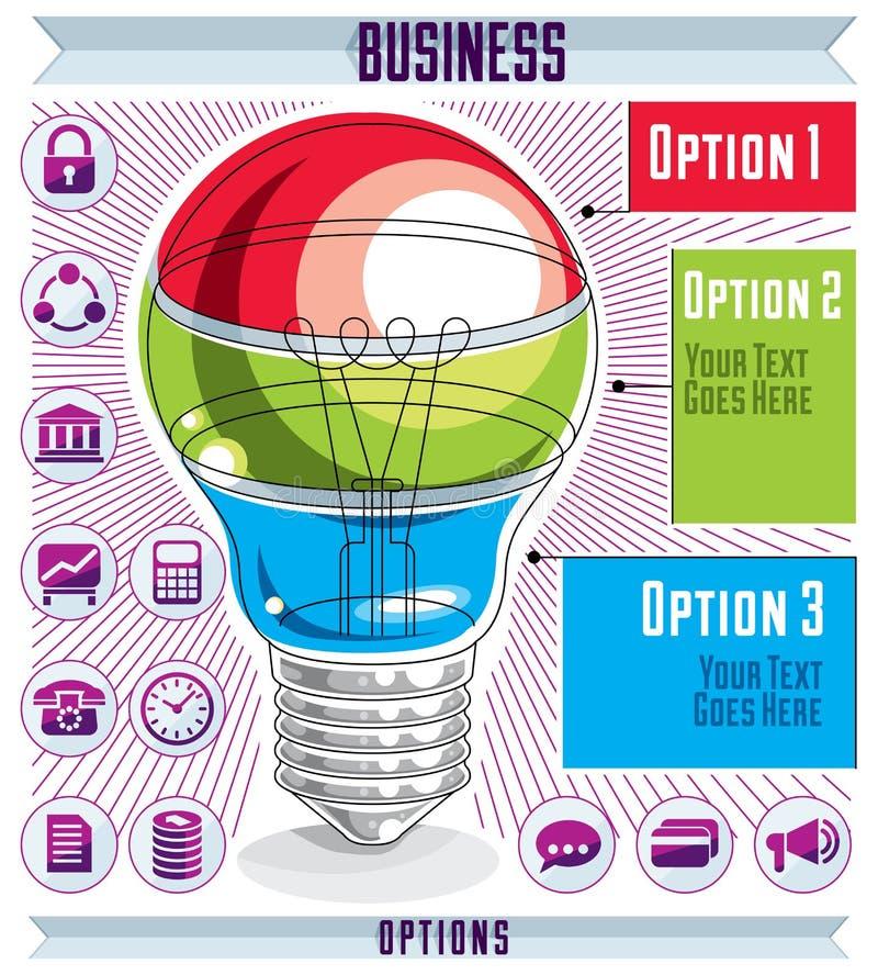 Творческий шаблон infographics, наслоенная идея электрической лампочки, вектор бесплатная иллюстрация
