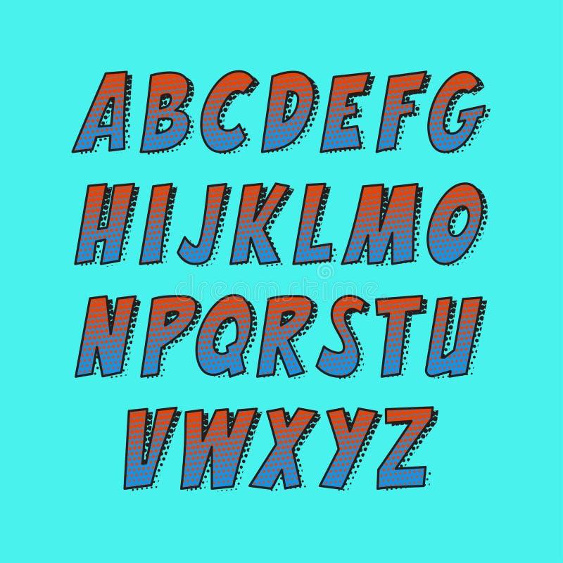 Творческий шрифт Собрание алфавита вектора установило в стиле комиксов и искусства шипучки иллюстрация вектора