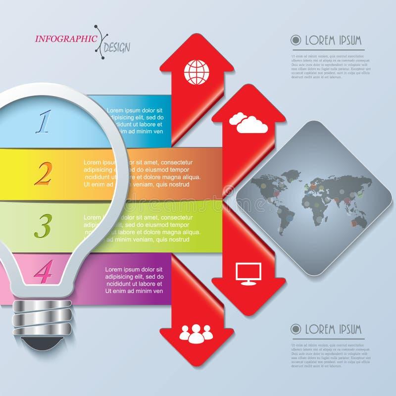 Творческий infographic дизайн с шариком, номерами и картой мира иллюстрация штока