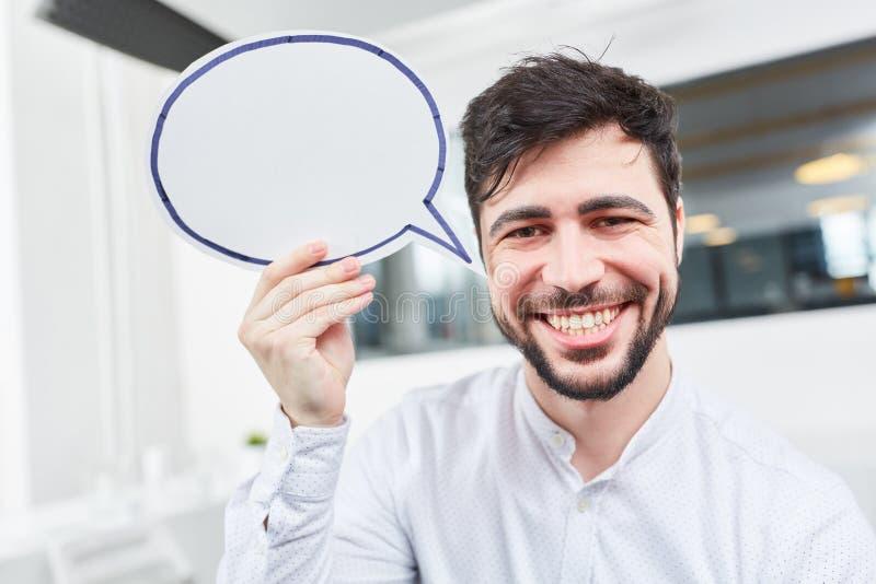 Творческий start-up основатель с пузырем речи стоковая фотография