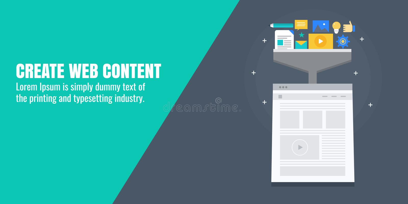 Творческое веб-содержимое, сочинительство, продукция, развитие, Содержимое оптимизирование для цифрового маркетинга Плоское знамя бесплатная иллюстрация