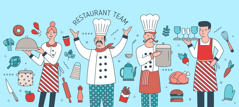 Творческое знамя при вождь, кашевар, кельнер и официантка окруженные продуктами питания, едами и инструментами варить Ресторан иллюстрация штока