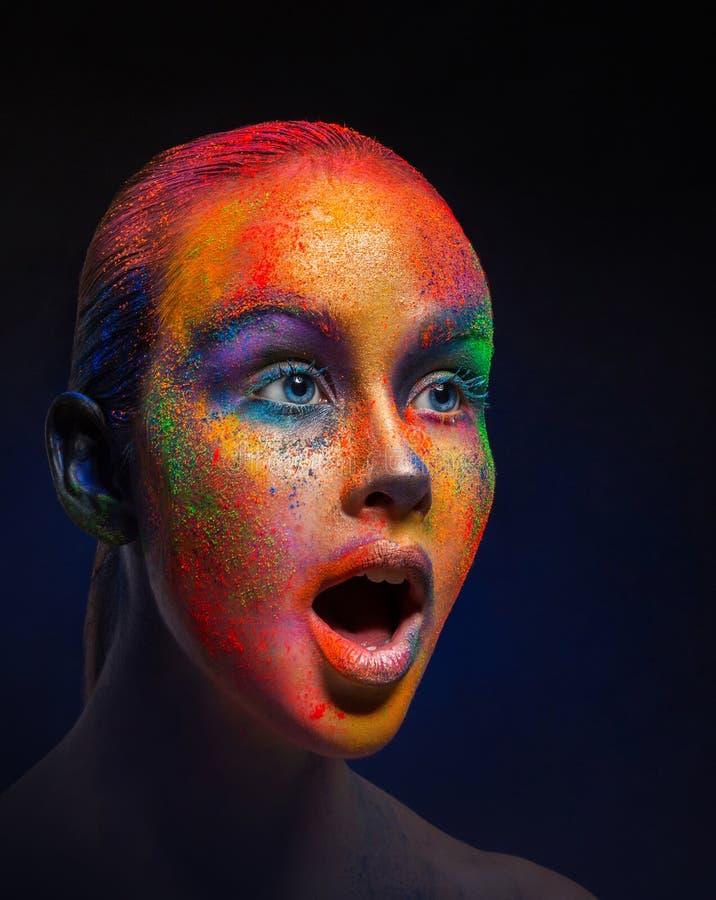 Творческое искусство составляет, портрет крупного плана фотомодели стоковое фото rf