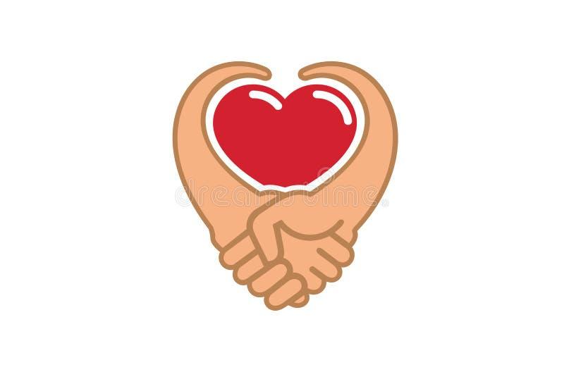 Творческое сердце рукопожатия внутри логотипа бесплатная иллюстрация