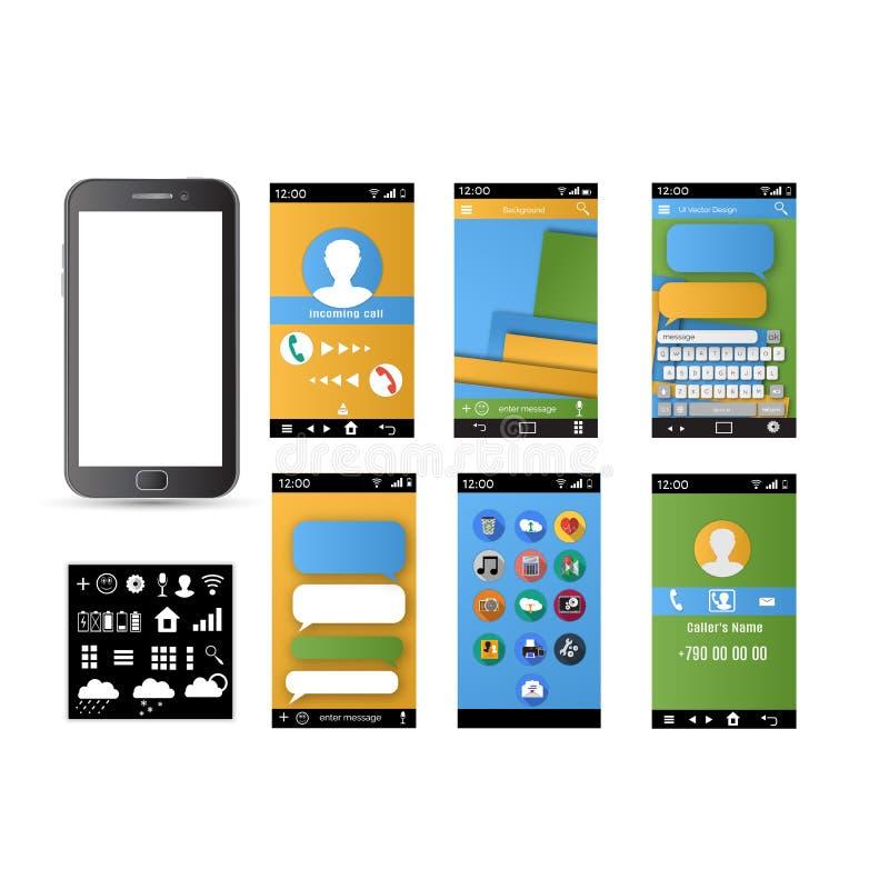 Творческое UI, UX, экраны GUI иллюстрация вектора