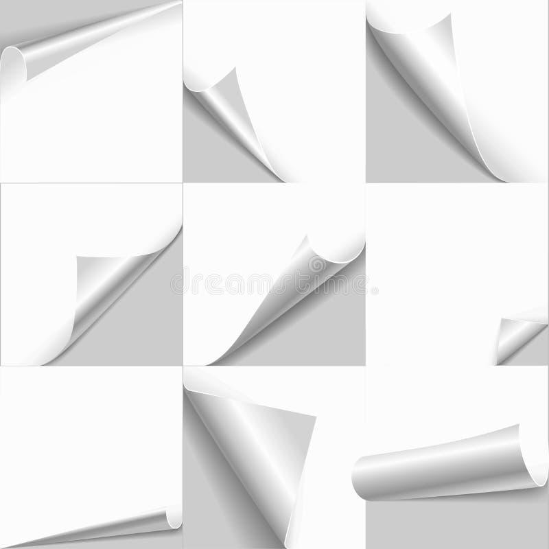 Творческой комплект шаблона бумаги края страницы слегка ударенный скручиваемостью иллюстрация штока