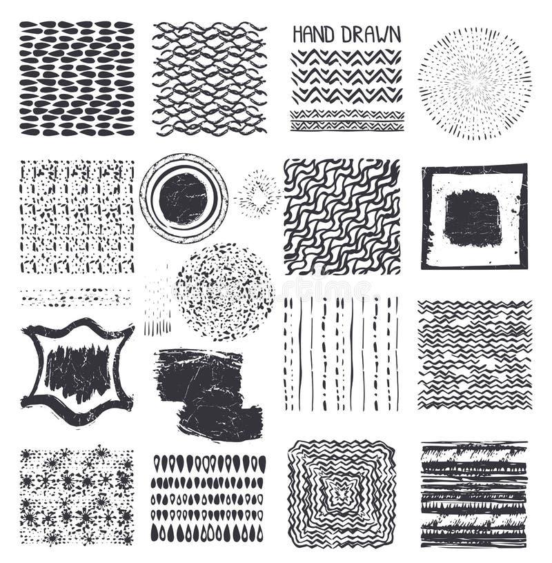 Творческой нарисованные рукой установленные текстуры чернил черный иллюстрация вектора