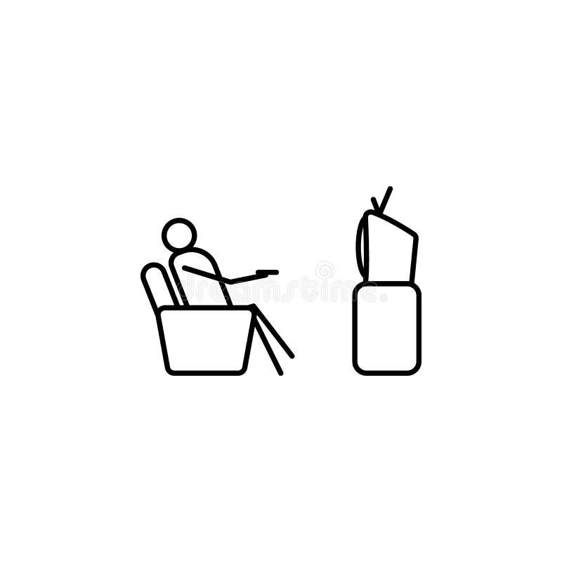 ТВ вахты на значке плана кресла Элемент ленивого значка персоны для передвижных apps концепции и сети Тонкая линия ТВ вахты значк иллюстрация вектора