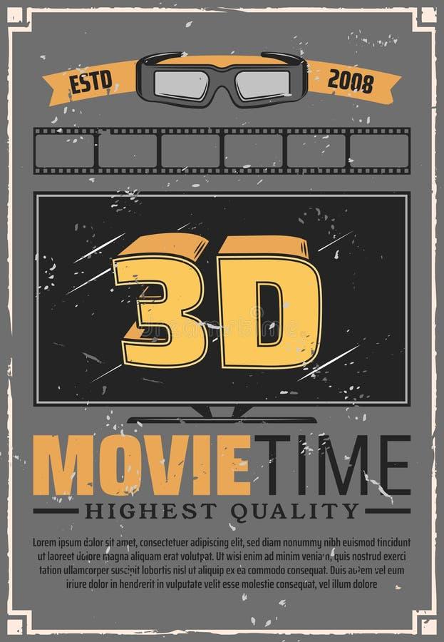 ТВ влияния 3D, стекла и фильм кино иллюстрация вектора