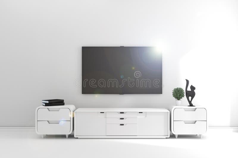 ТВ в современной пустой комнате, минимальных дизайнах r иллюстрация штока