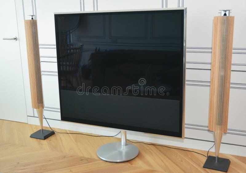 ТВ домашнего театра Живущая комната со стойкой ТВ плазмы и дикторами столбца ТВ стоковое фото