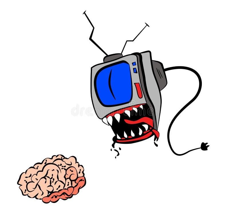 ТВ ест ваш мозг иллюстрация вектора
