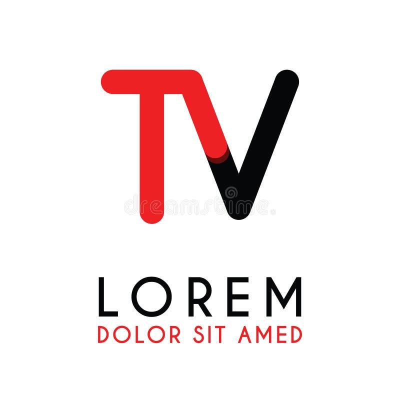 ТВ начального письма с красная черной и имеет округленные углы иллюстрация штока