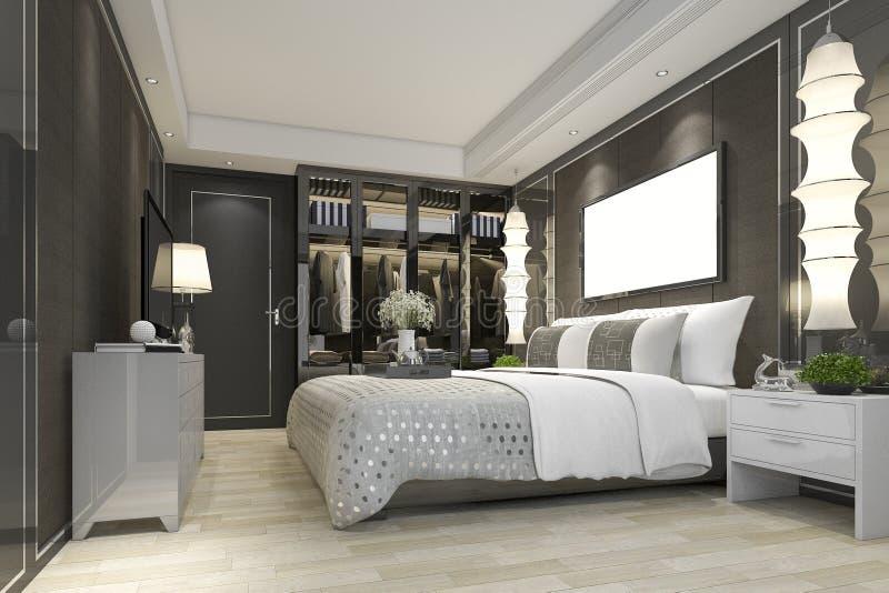 ТВ сюиты спальни перевода 3d роскошное современное с шкафом и прогулкой в шкафе иллюстрация вектора