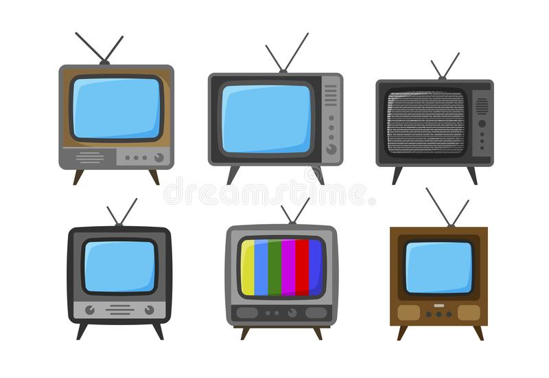 ТВ, телевизор значков Передача, видео- концепция также вектор иллюстрации притяжки corel иллюстрация штока