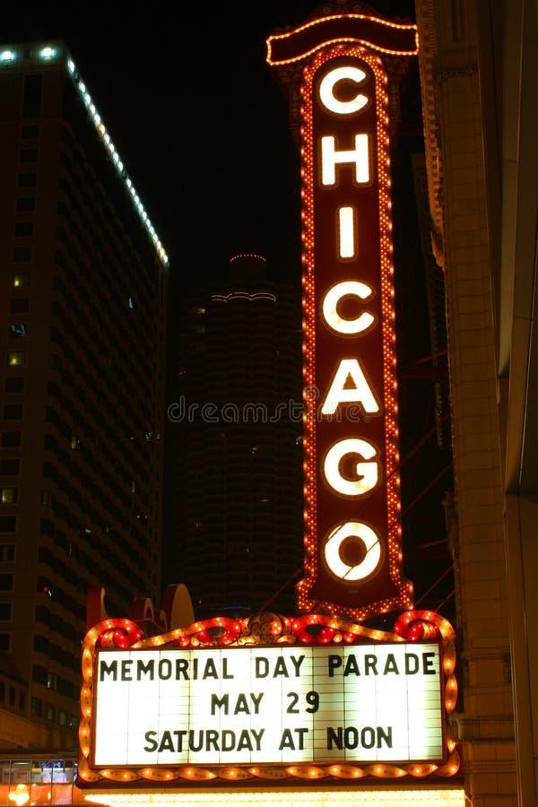 театр знака ночи chicago стоковые изображения