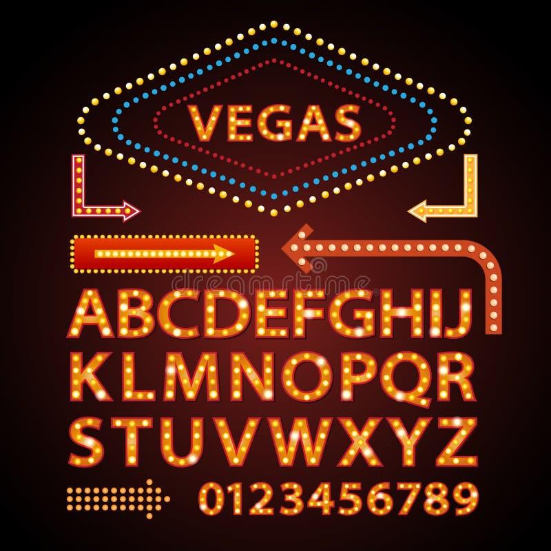 Театр знака света Вегас выставки шрифта писем неоновой лампы вектора оранжевый иллюстрация штока