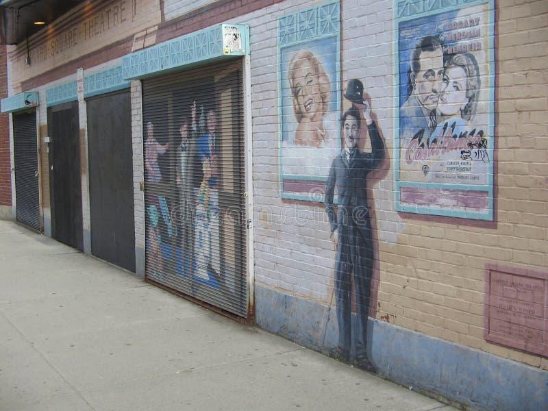 Театр квадрата Гарварда, улица церков, квадрат Гарварда, Кембридж, Массачусетс, США стоковое фото rf