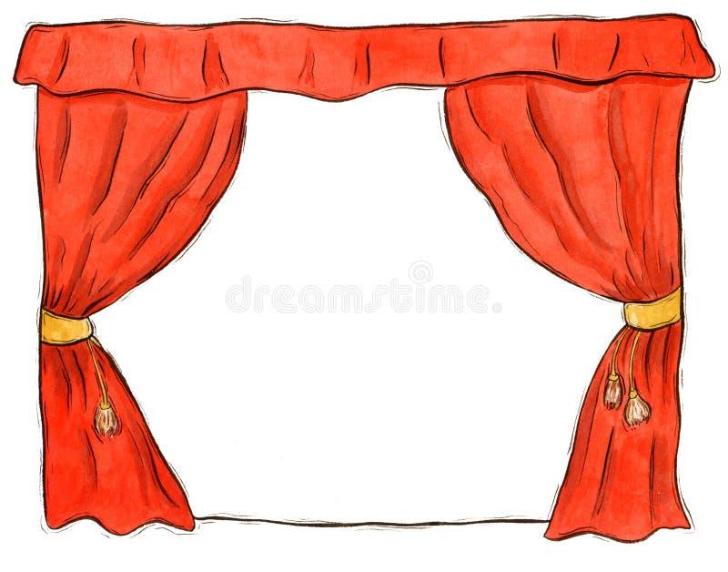 театр красного цвета занавеса иллюстрация штока