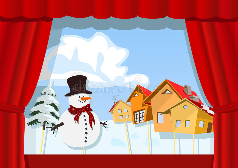 Театр марионетки рождества иллюстрация штока