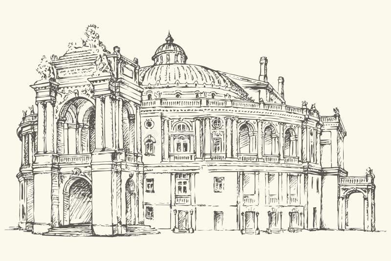 Театр Одессы оперы и балета, Украины Эскиз вектора бесплатная иллюстрация