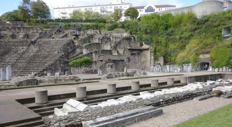 Театр Римск-эры на холме Fourviere в Лионе стоковое фото