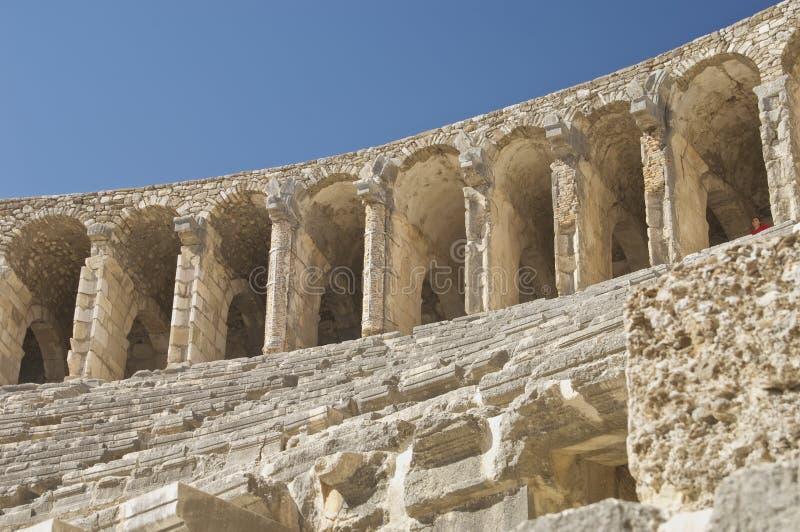 Театр Aspendos в Турции Верхний слой стоковые изображения rf