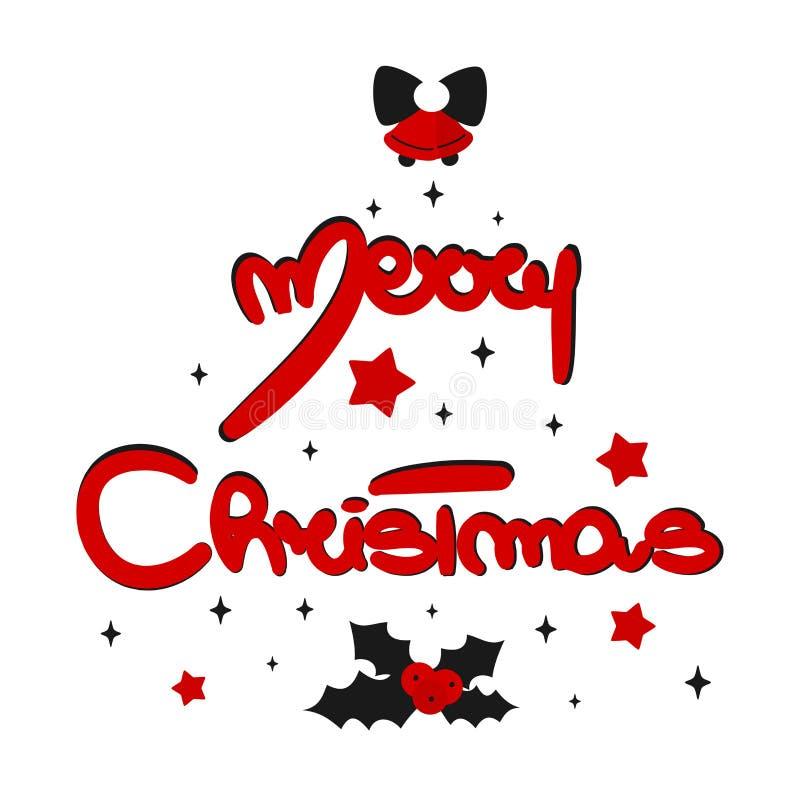 Текста вектора веселого рождества руки карта помечая буквами дизайна вычерченного каллиграфическая с падубом, звездами и колокола иллюстрация вектора