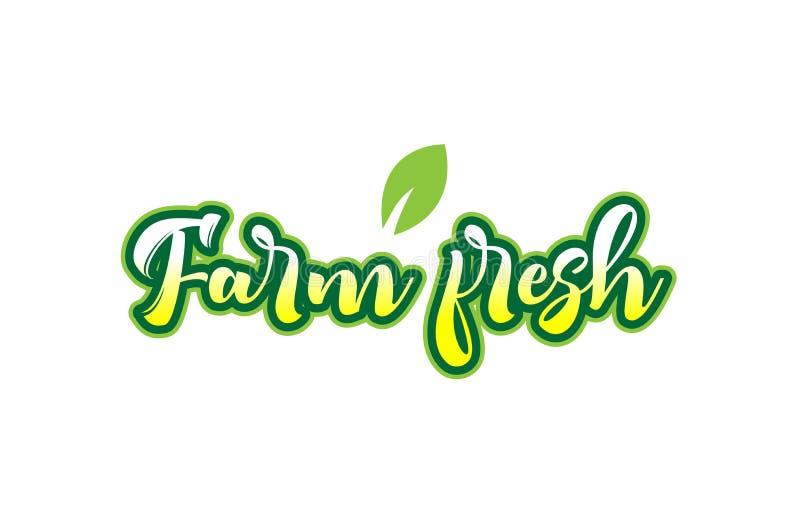 текста шрифта слова фермы дизайн логотипа свежего типографский с зеленым пастбищем бесплатная иллюстрация