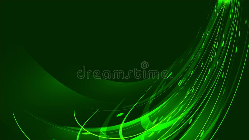 Текстура абстрактных зеленых волшебных накаляя ярких сияющих неоновых линий прокладок волн потоков энергии иллюстрация вектора