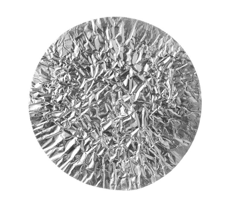 Текстура алюминиевой фольги округлой формы изолированная на белой предпосылке стоковая фотография