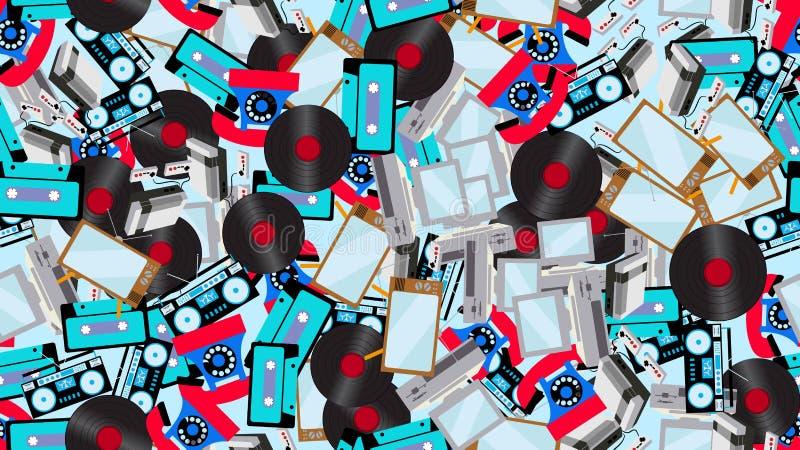 Текстура безшовная картина старой винтажной ретро технологии электроники от 70 ` s, 80 ` s, 90 ` s бесплатная иллюстрация