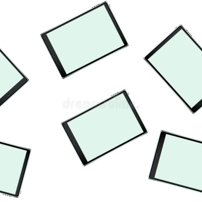 Текстура, безшовная картина умных современных умных планшетов сенсорного экрана с цифровое объемное реалистическим бесплатная иллюстрация