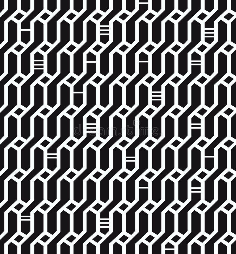 Текстура безшовного геометрического черно-белого Wickerwork предпосылки сети картины декоративная бесконечная для ткани дизайна иллюстрация вектора