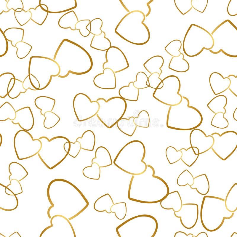 Текстура безшовной картины 2 сердец романтичная оборачивая иллюстрация вектора