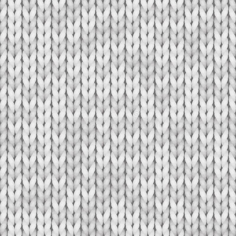 Текстура белого knit безшовная Безшовная картина для дизайна печати, предпосылок, обоев Белизна цвета, свет - серый цвет бесплатная иллюстрация