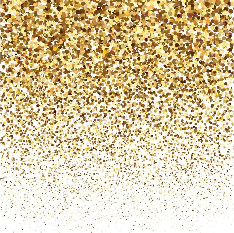 Текстура блеска яркого блеска золота на белой предпосылке Золотой взрыв confetti Золотые абстрактные частицы на белизне иллюстрация штока