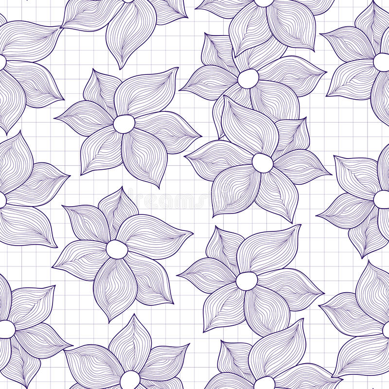 Текстура вектора безшовная цветков стилизованных как чертежи иллюстрация вектора