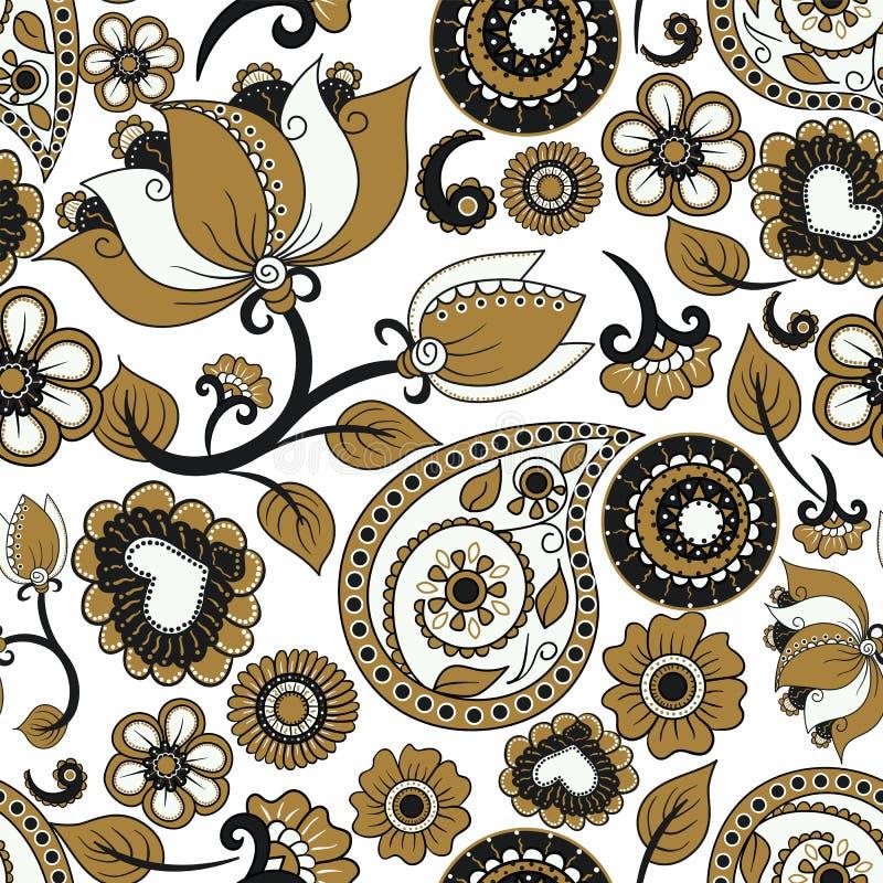 Текстура вектора безшовная Этнический индийский орнамент kalamkari Флористическая картина Пейсли декоративная бесплатная иллюстрация