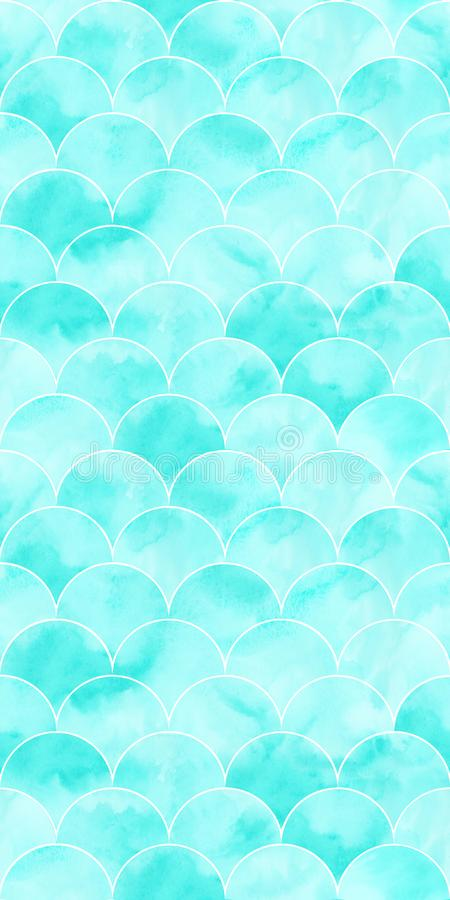 Текстура волны моря бирюзы геометрическая Картина масштаба рыб безшовная Печать для ткани, обоев, создавая программу-оболочку бесплатная иллюстрация