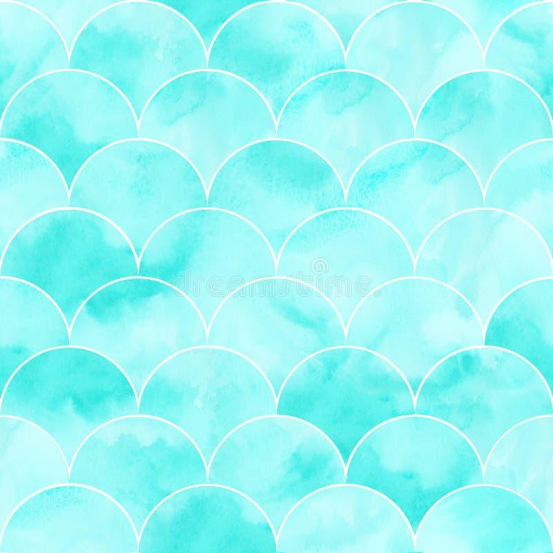 Текстура волны моря бирюзы геометрическая Картина масштаба рыб безшовная Печать для ткани, обоев, создавая программу-оболочку иллюстрация вектора