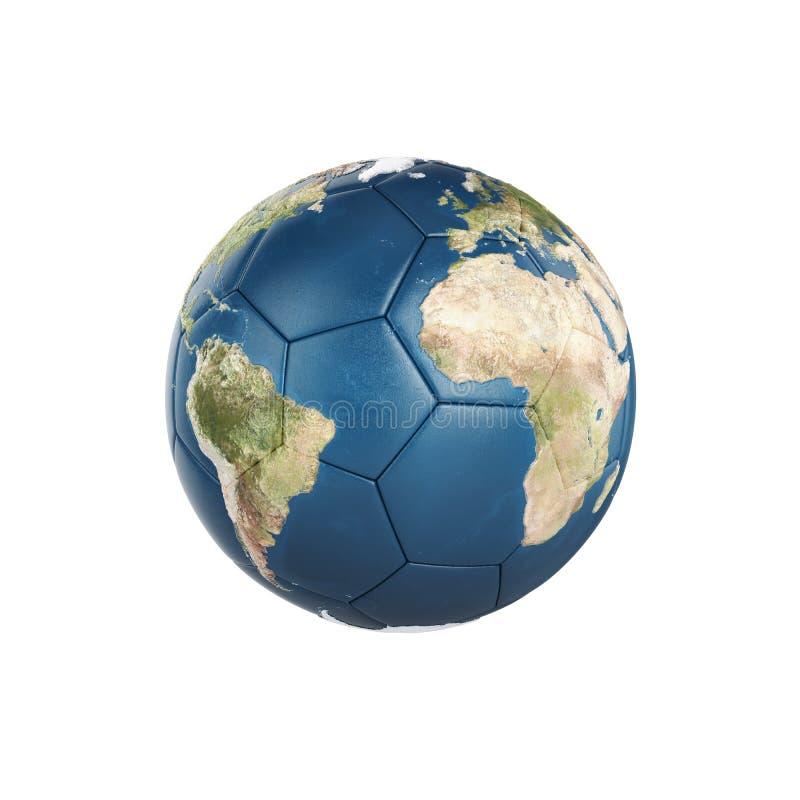 Текстура земли глобуса на футбольном мяче изолированном на белой предпосылке иллюстрация штока