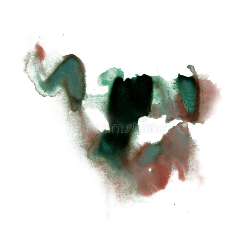Текстура зеленого цвета коричневого цвета нашлепки пятна макроса акварели краски watercolour splatter чернил жидкостная изолирова иллюстрация вектора
