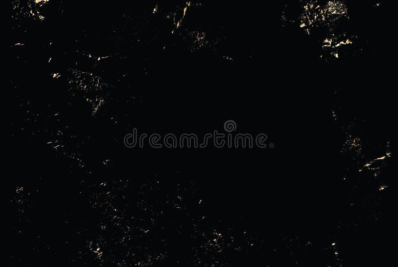 Текстура золота grunge вектора изолированная на черноте Предпосылка царапины патины золотая иллюстрация вектора