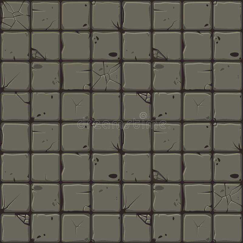 Текстура каменных плиток, стена безшовной предпосылки каменная Иллюстрация вектора для пользовательского интерфейса элемента игры иллюстрация вектора