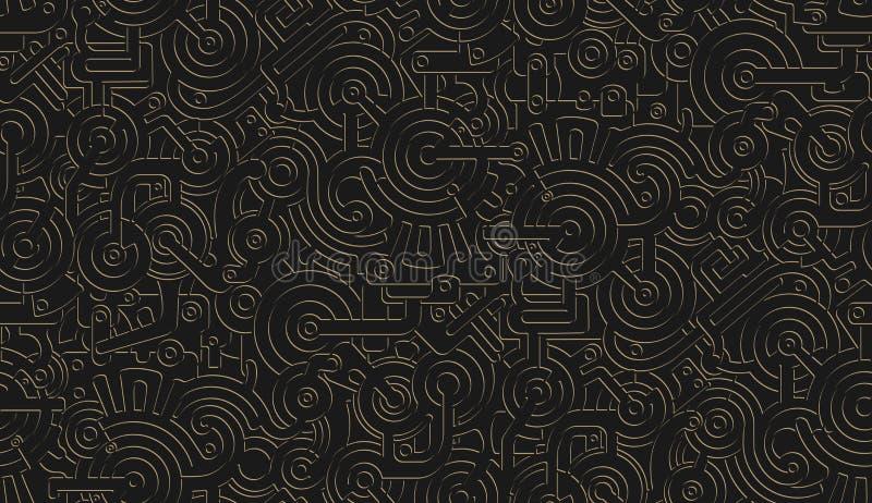 Текстура картины безшовного вектора механически изолировано Steampunk металлическо черное золото бесплатная иллюстрация