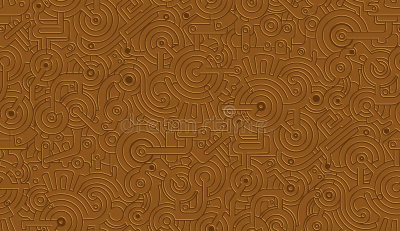 Текстура картины безшовного вектора механически изолировано Steampunk металлическо Бронза, медь иллюстрация вектора