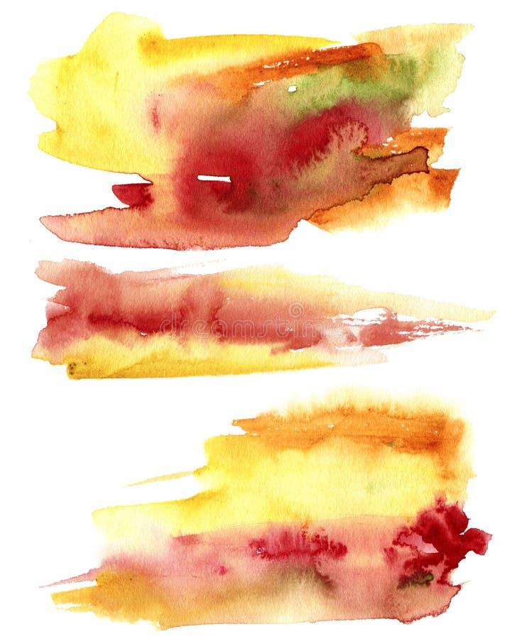 Текстура конспекта осени акварели Рука покрасила красную и желтую абстрактную предпосылку Иллюстрация для дизайна, печать падения стоковые изображения